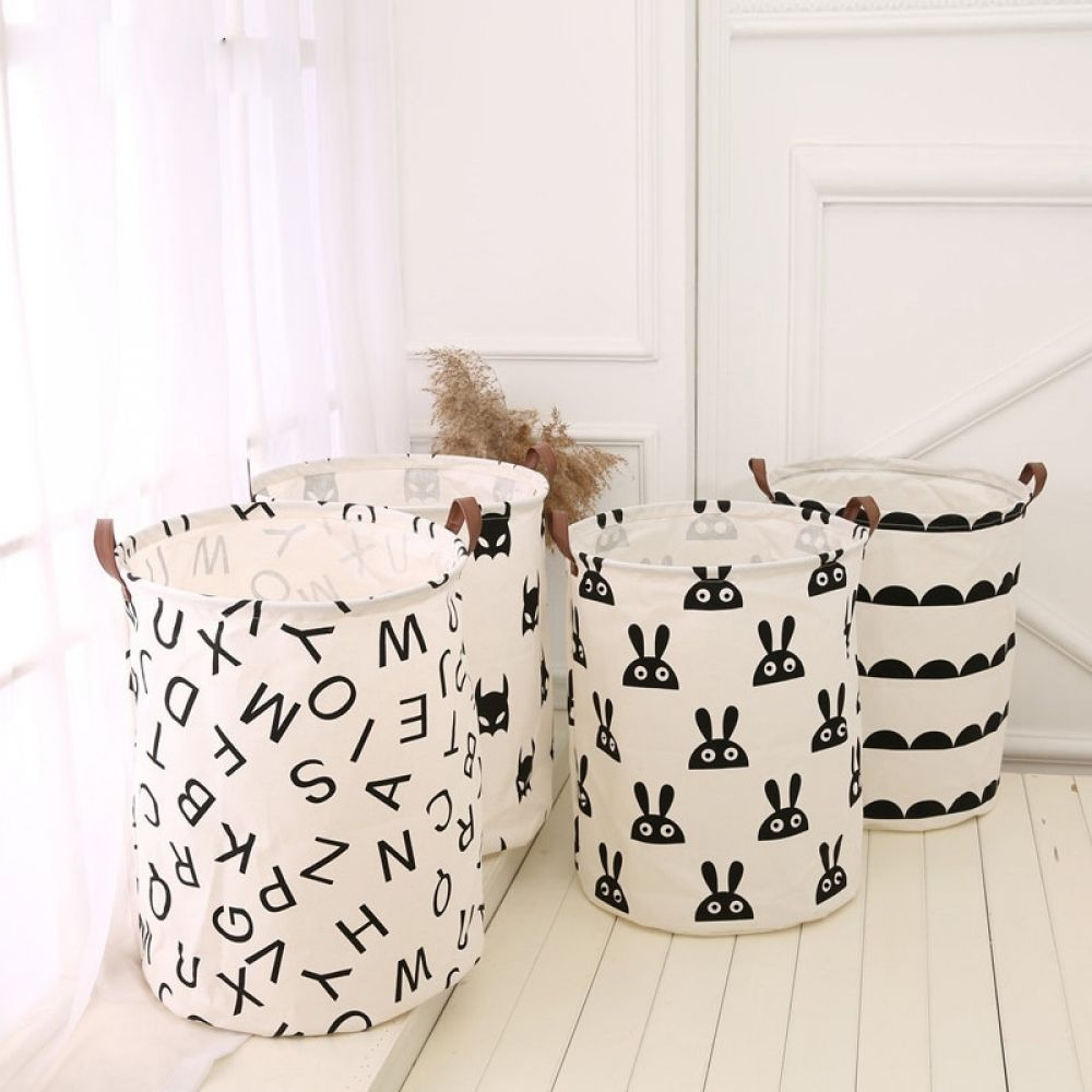 Comwikihopper Combaby Kids Toy Clothes Organizer Canvas Laundry Basket Big 40 50cm Storage Bag With Leather Handles Room Decor In 2020 Laundry Basket Bag Storage Kids Room