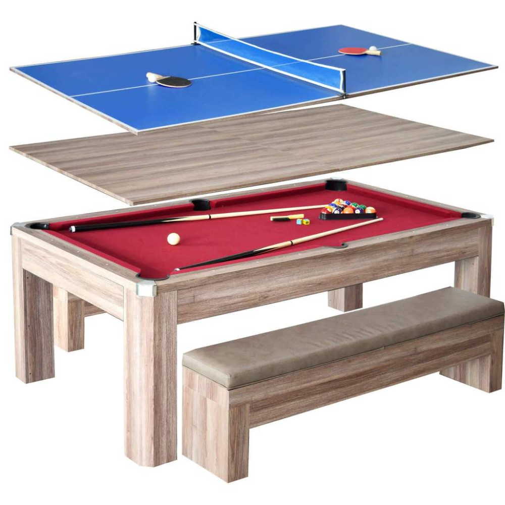 Hathaway Newport 7ft Multi Game Table With Dining Top Benches Outdoor Pool Table Pool Table Dining Table Pool Table