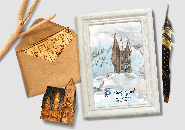 Harry Potter Watercolor Poster A Shrieking Shack Etsy Harry Potter Watercolor Harry Potter Poster Diy Prints