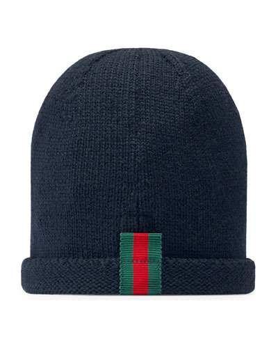 Kids  Knit Web Trim Beanie Hat d8e8f682d402