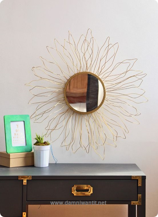 DIY Home Decor | Anthropologie Knock Off Gold Sunburst Mirror  Other Amazing Home & Office Decor: http://www.damniwantit.net/category/geeks-lounge/