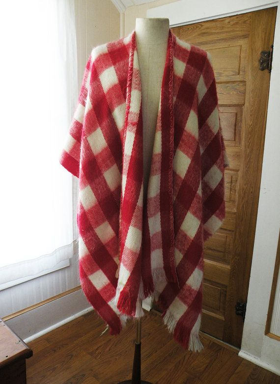Red & White Check Vintage Wool Poncho / Boho Men by TheDaveCave $50