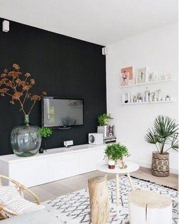 Een zwarte muur is een statement in huis   Wand