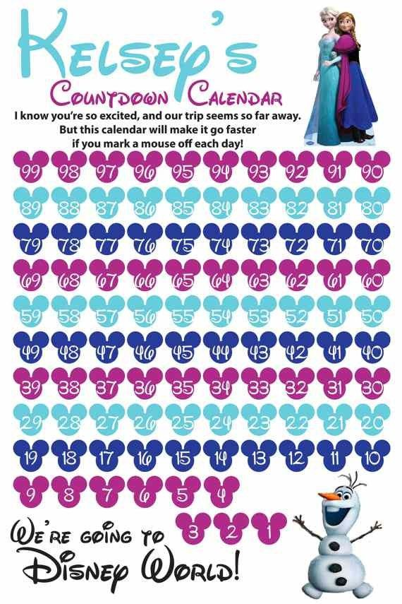Disney Micky World Printable Countdown Frozen Calendar Ideas