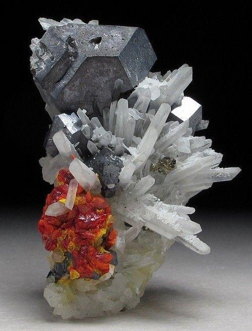 Realgar, Galena and Quartz - Paloma mine, Peru / Mineral Friends <3