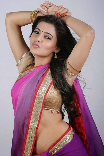 Bollywood Kart Samantha Exposing Hottest Navel In Purple Saree