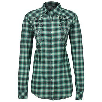 Wrangler Women's Long Sleeve Embroidered Plaid Print Western Shirt