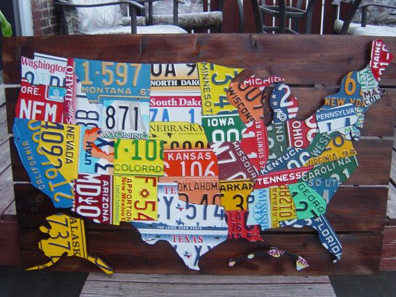 3d Hand Crafted License Plate Maps Of The Us F O R T H E - Us-map-made-out-of-license-plates