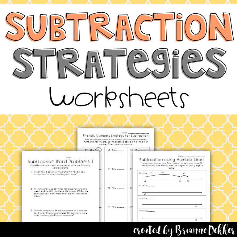 Subtraction Strategies Worksheets - Third Grade Go Math ...