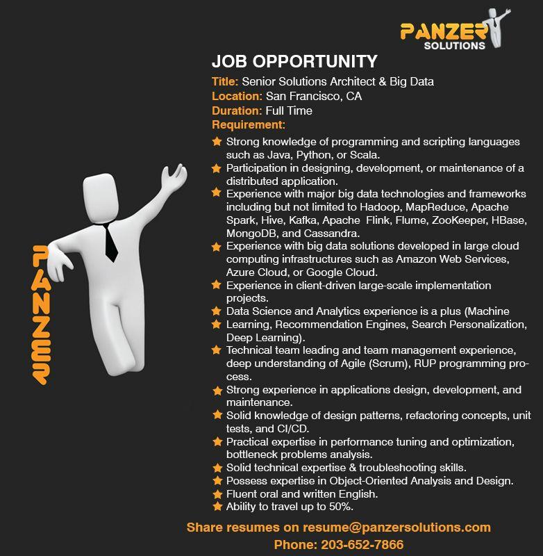 Job Title: Senior Solutions Architect & Big Data Location