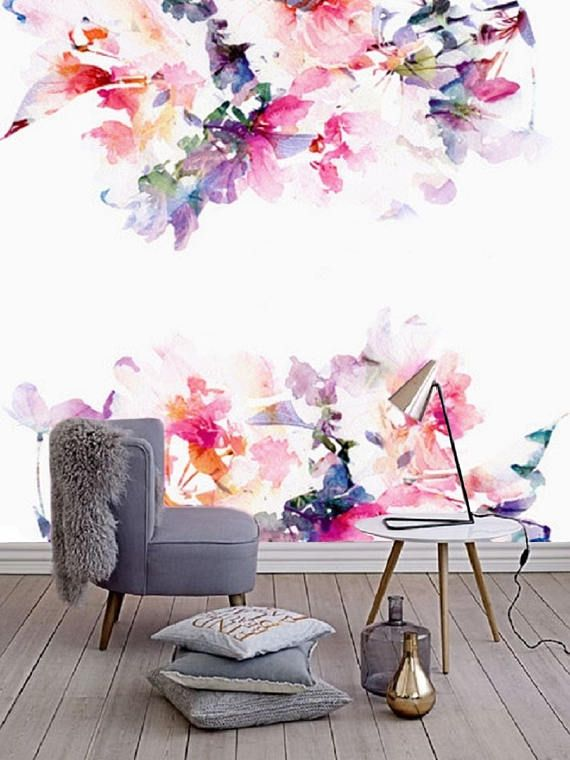 spring floral, large wall mural, watercolor nursery wallpaperself adhesive wallpaper removable wallpaper wall mural
