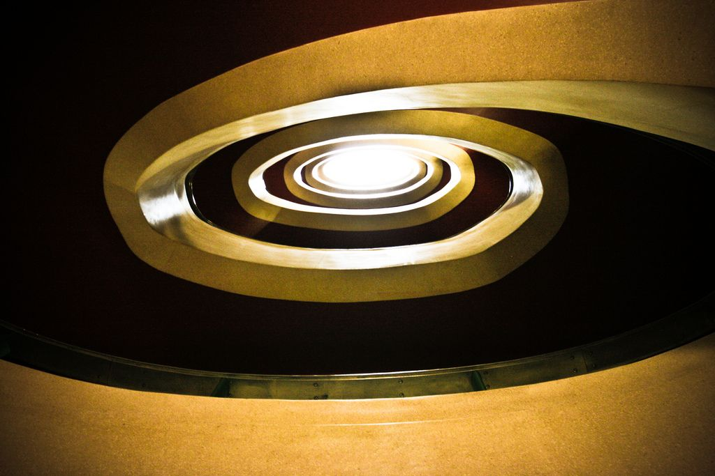 The staircase at the old headquarters of The Express newspaper, decorated in an Art-deco style.