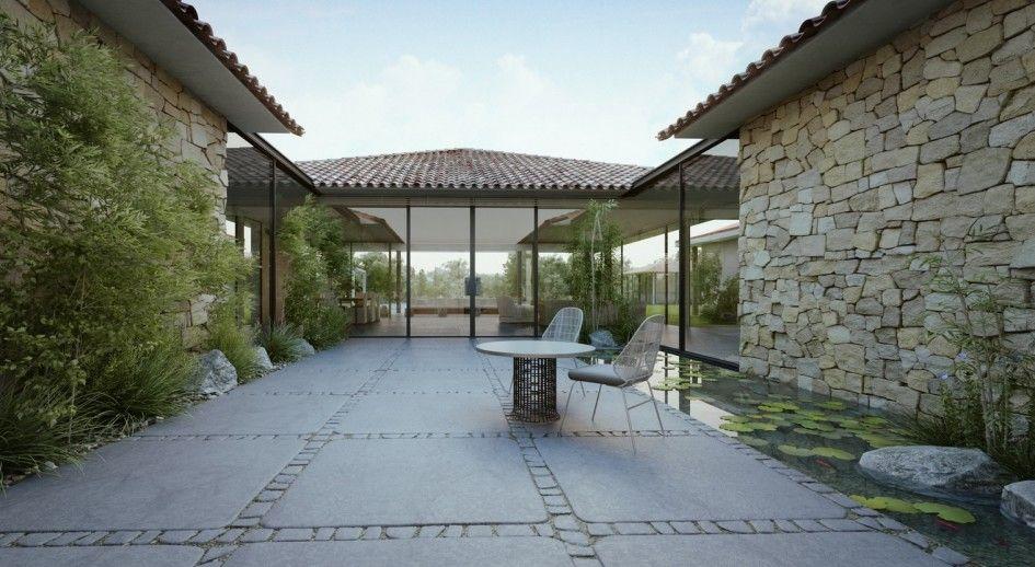Single Story Modern Cottage Design in Israel : Modern Cottage Courtyard Design Roof