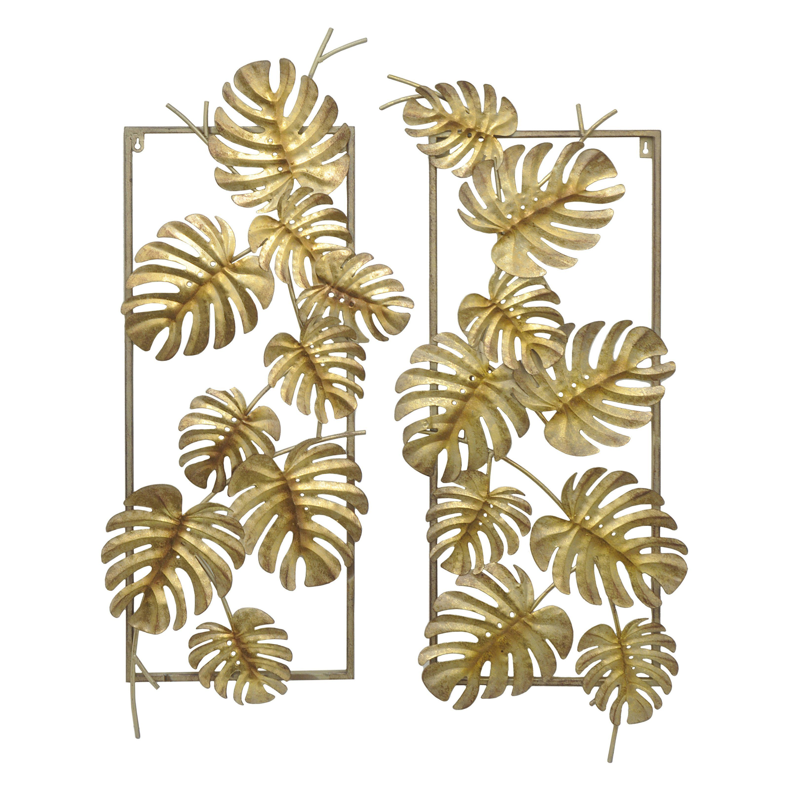 fecc7dc583 Three Hands Gold Leaves Metal Wall Art - Set of 2 - 10118 | Products ...