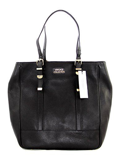 Gianni Versace Lbfs354 Collection Black Leather Large Tote Bag