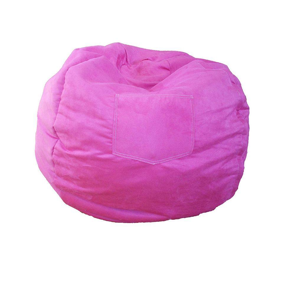 Fun Furnishings Microsuede Small Beanbag Chair Kids Pink Bean
