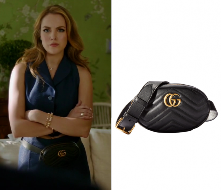 f81b3a903cd8 Fallon Carrington (Elizabeth Gillies) wears this black quilted bum bag in  this episode of Dynasty