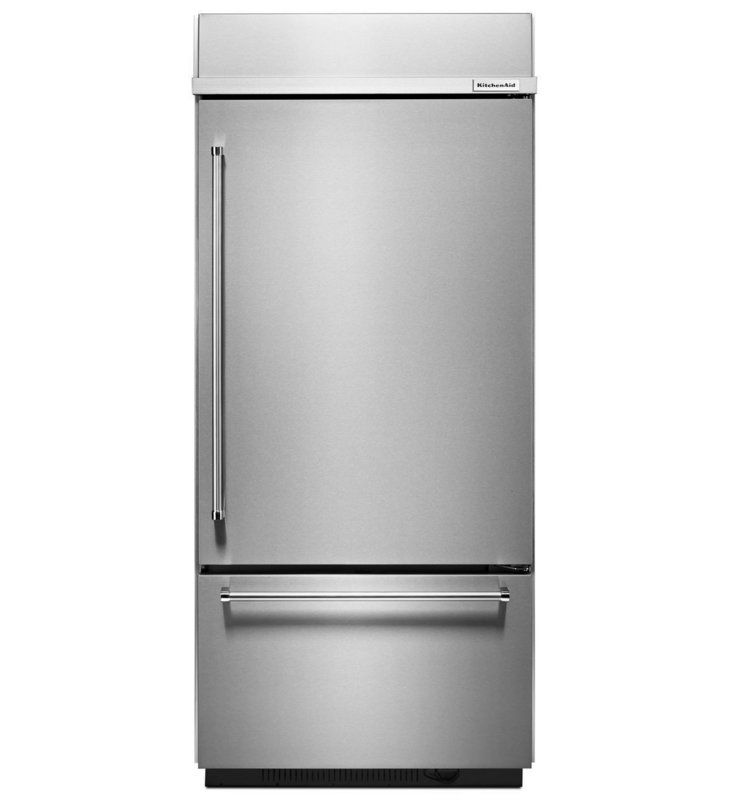 Kitchen Refrigerator: KitchenAid KBBR206E 36 Inch Wide 20.9 Cu. Ft. Built-In Bottom Freezer Refrigerator