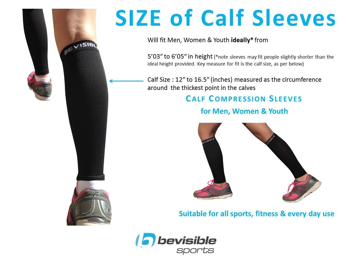 e16322d87c Calf Compression Sleeve - BeVisible Sports Men and Women's Leg Compression  Sleeves - True Graduated Compression