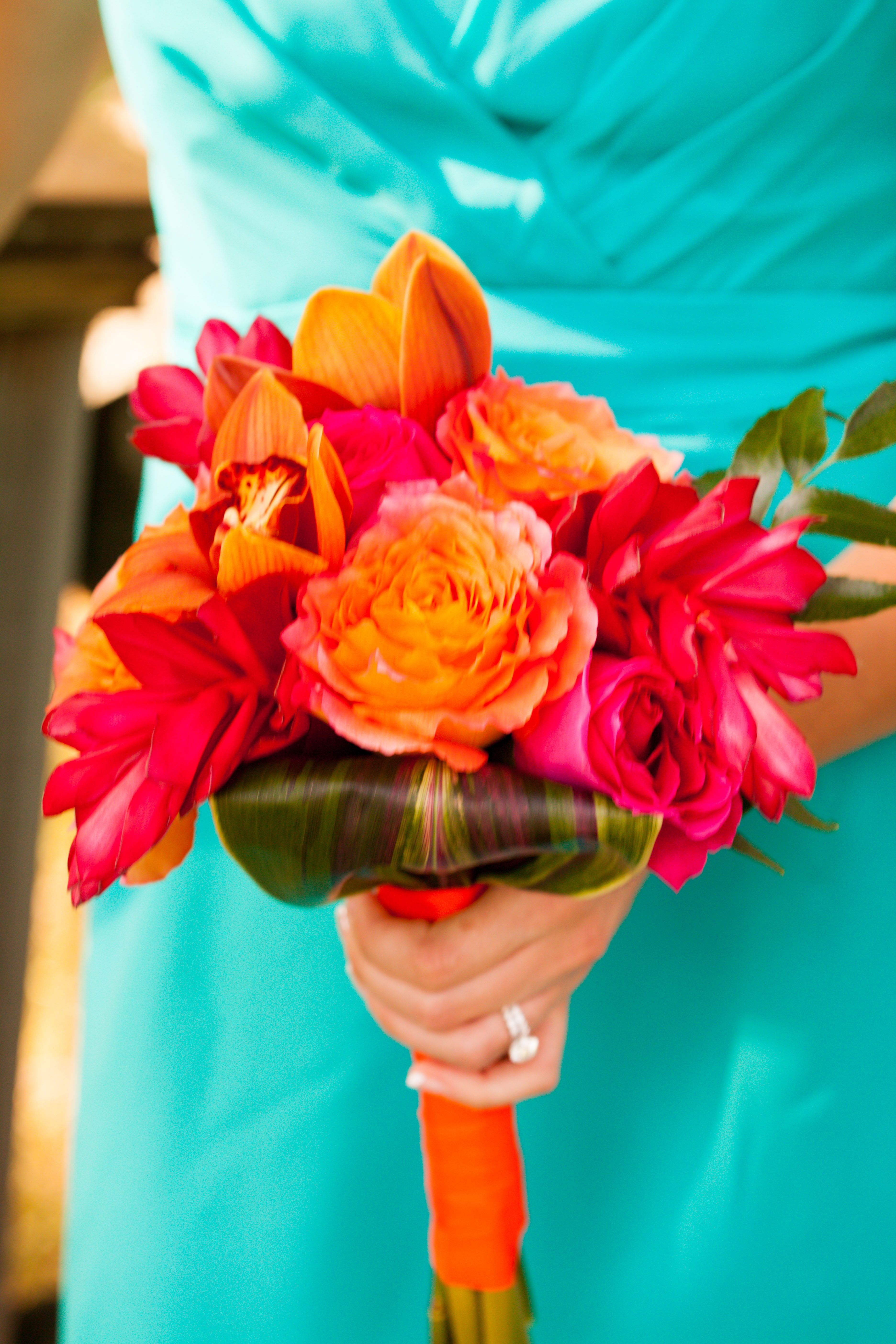 Tropical Bridesmaid Bouquet Orange Chile Roses Kiko Fuschia Roses