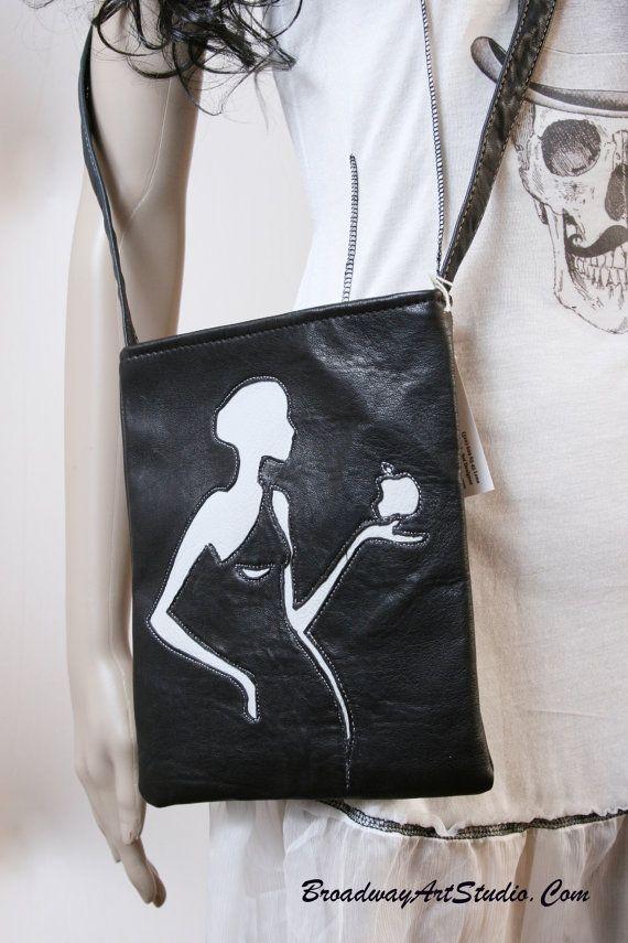 "One of a kind, handmade, ""Apple"", leather cross body bag by BroadwayArtStudio on Etsy"