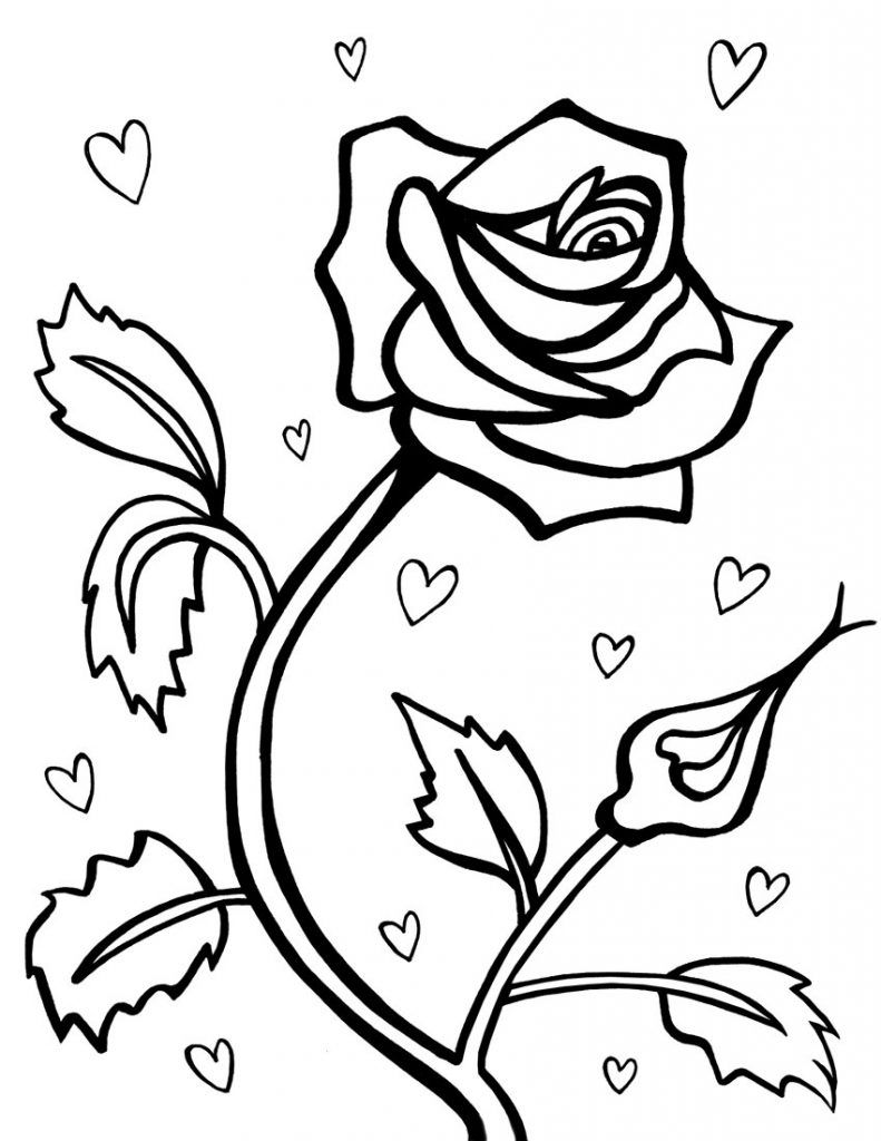 Free Printable Roses Coloring Pages For Kids Heart Coloring