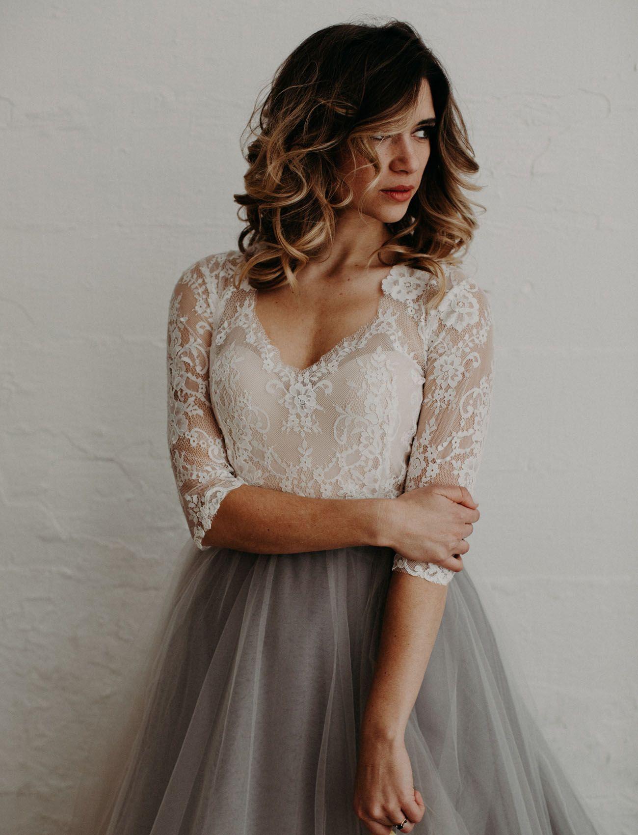 Modern Moody Wedding Inspiration Featuring A Gray Tulle Skirt Green Wedding Shoes Grey Wedding Dress Grey Tulle Skirt Wedding Dresses