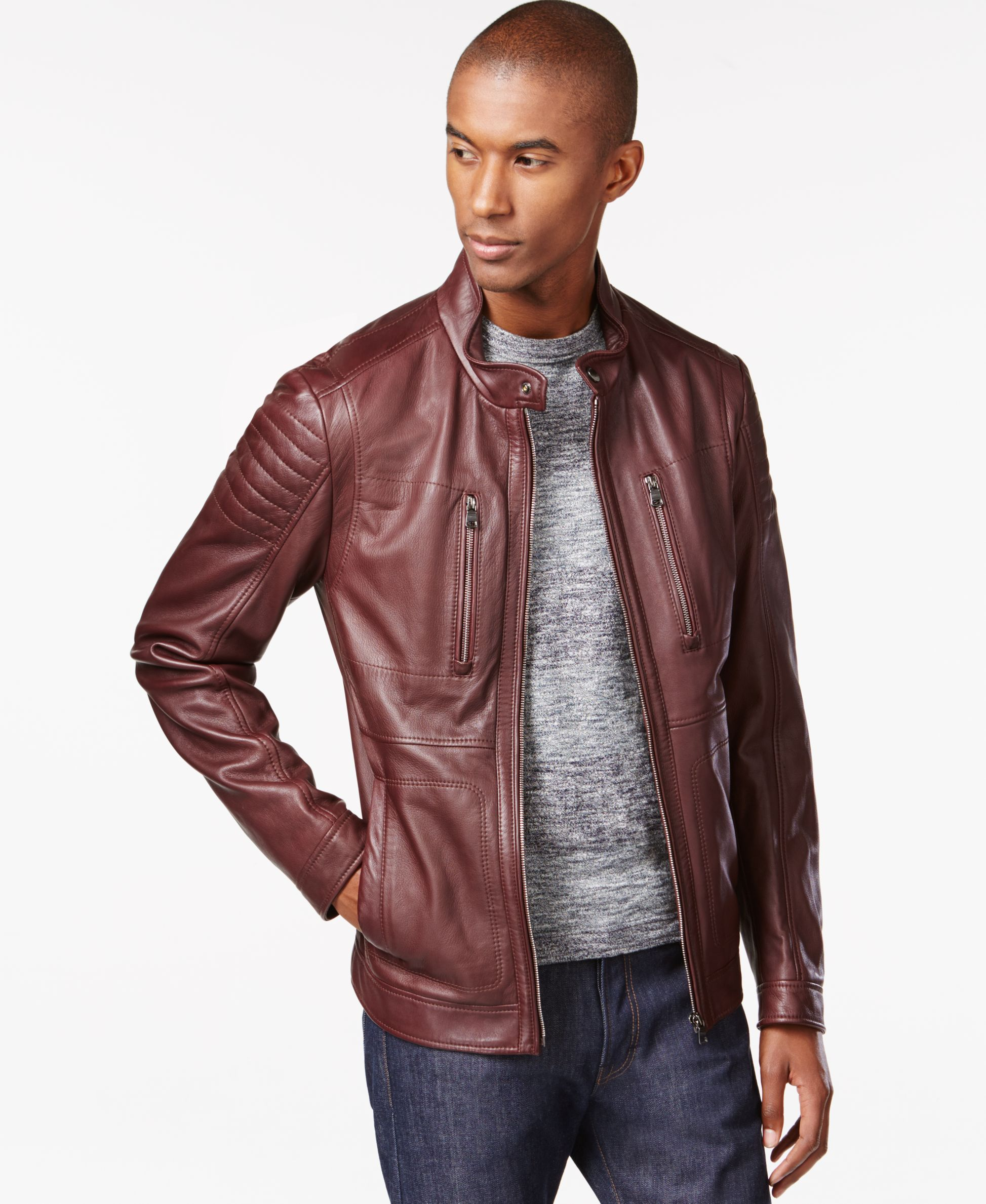 Boss Hugo Boss Naquinn LambskinLeather Jacket Leather