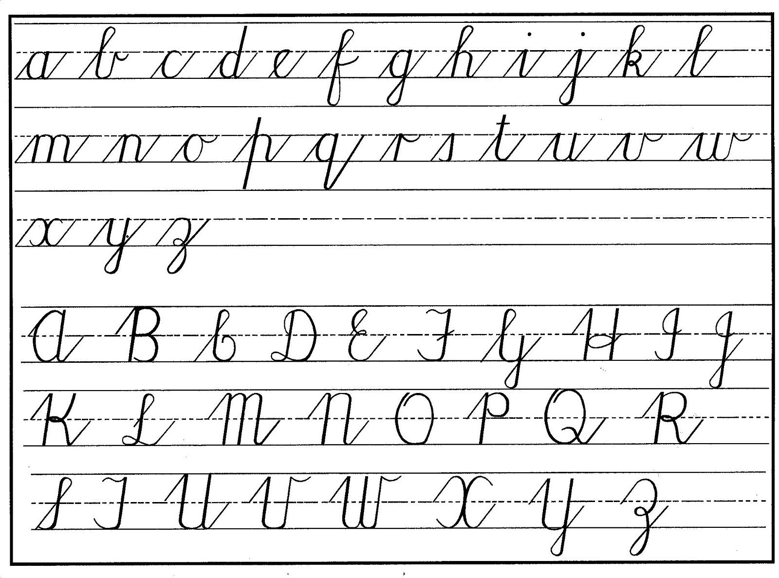 Cursive Alphabet Capital And Lowercase Letters Cursive