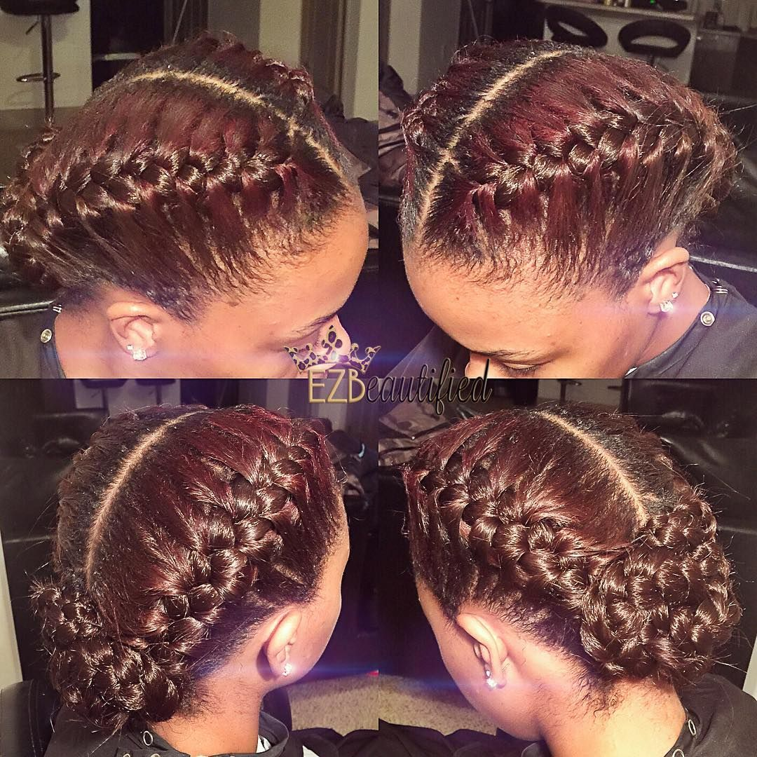 Brejia Breejay On Instagram 2 French Braids Into A Braided Bun For My Beautiful Client Natural Hair Braids Braided Hairstyles Natural Hair Styles