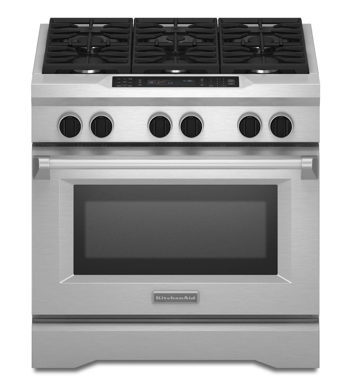 KitchenAid® 36 Inch 6 Burner Dual Fuel Freestanding Range, Commercial Style