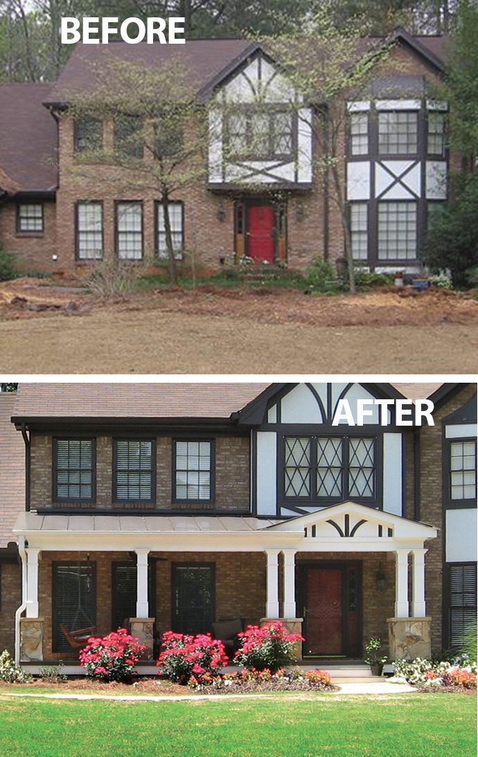 This New Half Porch Beautifully Complements A Tudor Style