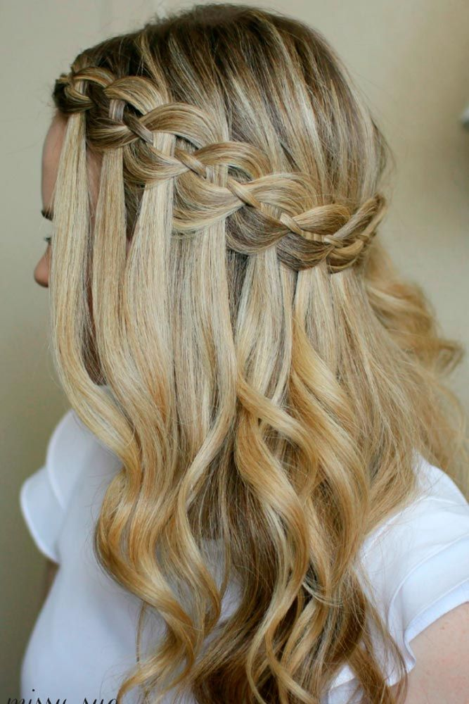 30 Cute Hairstyles For A First Date Hair Styles Waterfall Braid Hairstyle Long Hair Styles