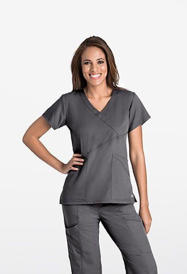7a348fa311c Grey's Anatomy Fashion Wrap Scrub Top Style # 41383 Criss-cross fashion  wrap 3 Pockets Back yoke detail Logo strip label on back collar Sizes: XS- 5XL arclux ...