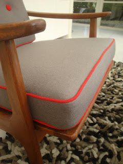 Maruni chair, upholstered by RAPT!upholstery, in grey felt and red wool-crepe