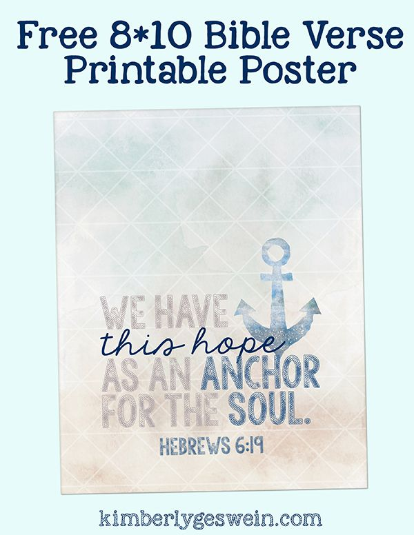 Free Printable Poster: Hope Anchor. Anchor QuotesAnchor Bible ...