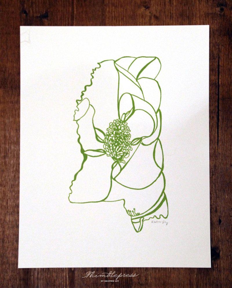 Mississippi Magnolia 25 00 Via Etsy Floral Flowers Spring States Stateflowers Etsy Handdraw Letterpress Painted Signs Letterpress Printing