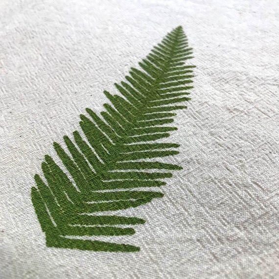 Flour Sack Dish Towel - Umbrella Fern Design,  Screen Printed in Dark Olive Green - 100% cott... Flour Sack Dish Towel - Umbrella Fern Design,  Screen Printed in Dark Olive Green - 100% cotton tea ,
