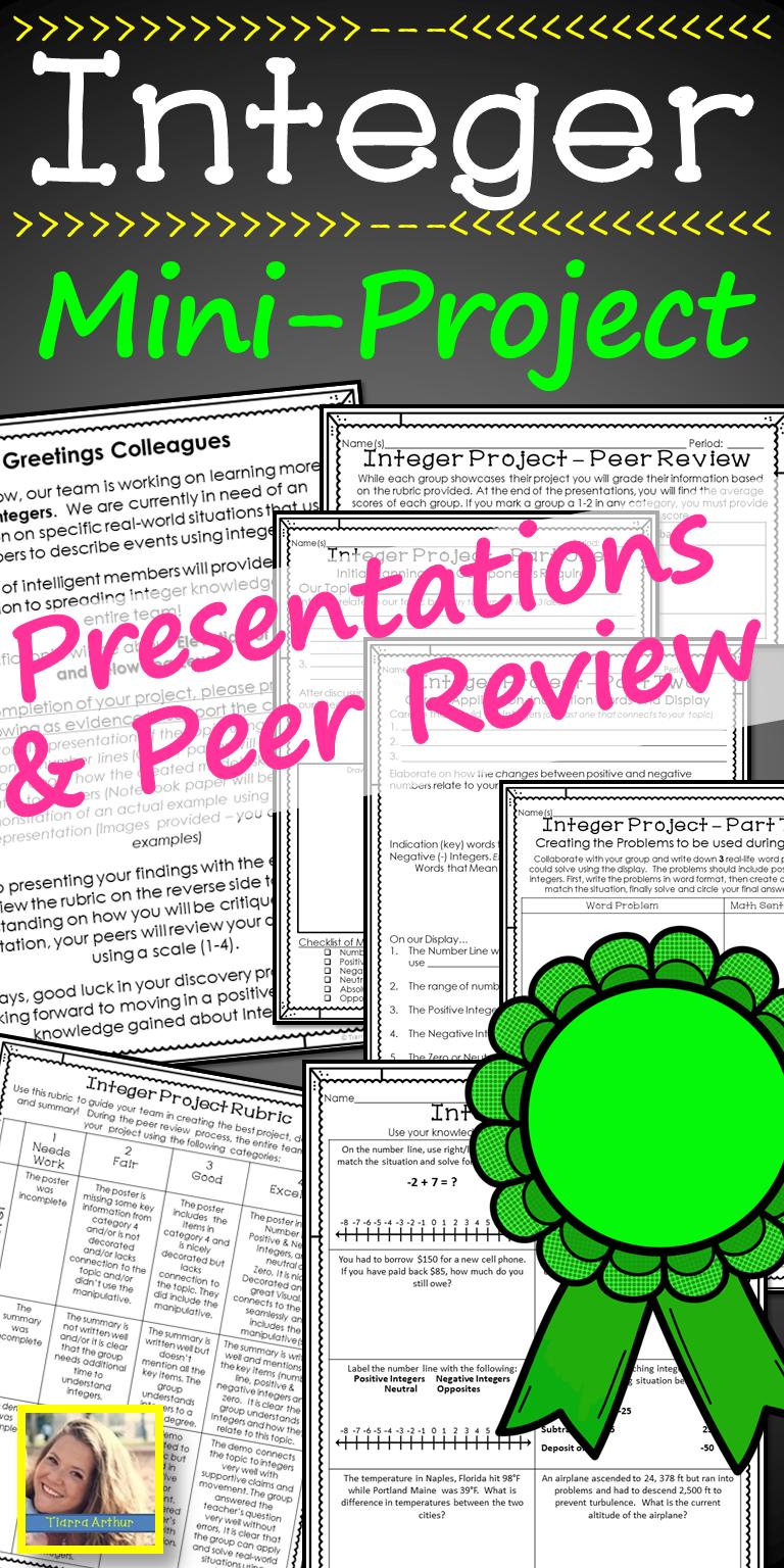 Integer Project | 7th grade math | Integers, Math projects