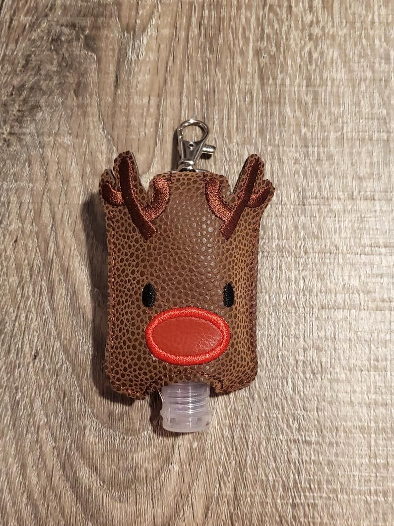 Red Nose Reindeer Sanitizer Holder Keychain Hand Sanitizer Keeper