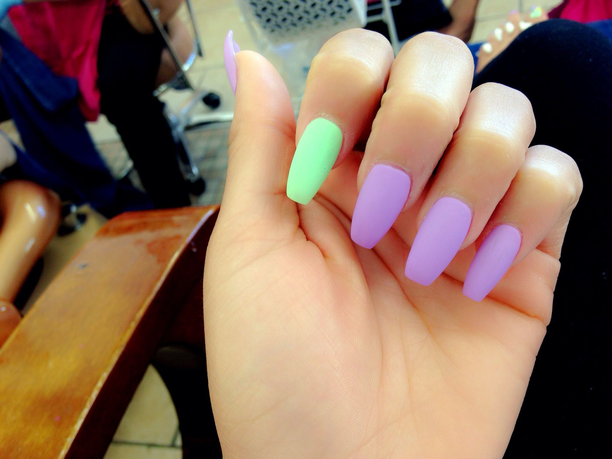 Coffin Nails #matte #pastel #nails | Talons and toes ...
