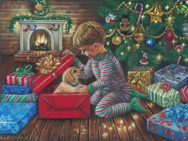 Дети у елки открытка
