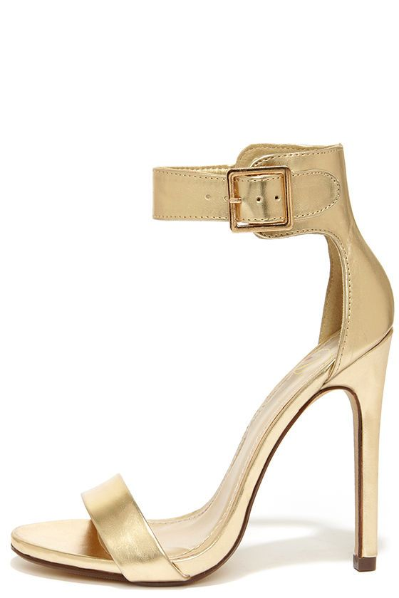 My Delicious Canter Gold Ankle Strap Heels | Ankle straps, Gold ...