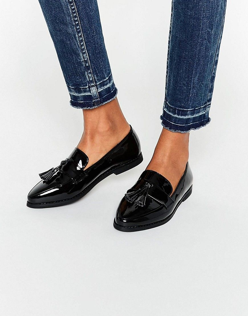 8d183766690 Image 1 of Daisy Street Black Patent Tassel Flat Loafer Shoes More