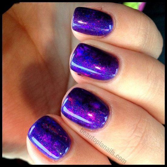 Prismatic Purples With Cnd Shellac In Purple Purple With Holographic Foils Love Cnd Shellac