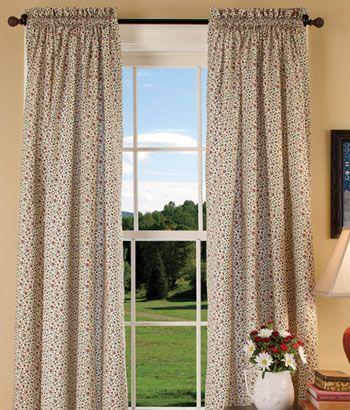 Classic Calico Rod Pocket Curtains   Living Room