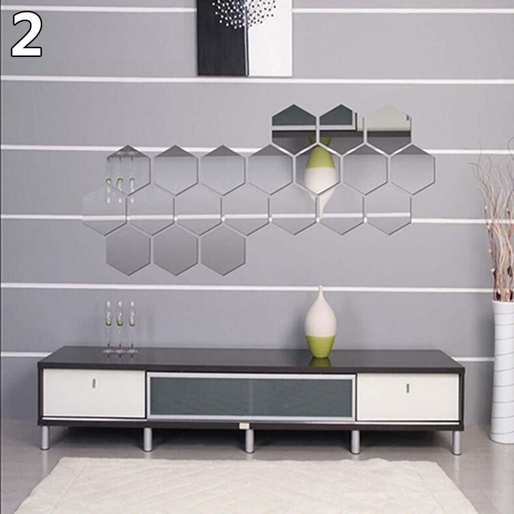 Photo of 12Pcs Mirror Hexagon Removable Acrylic Wall Stickers Art DIY Home Decor Decals – Silver