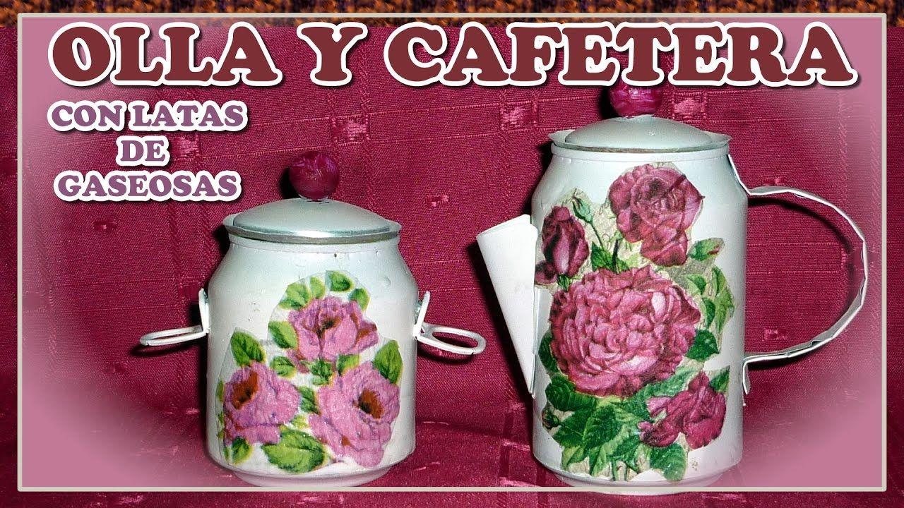 OLLA Y CAFETERA CON LATAS DE GASEOSAS (JUEGO DE COCINA)