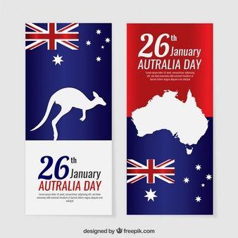 Banners del día de Australia con siluetas