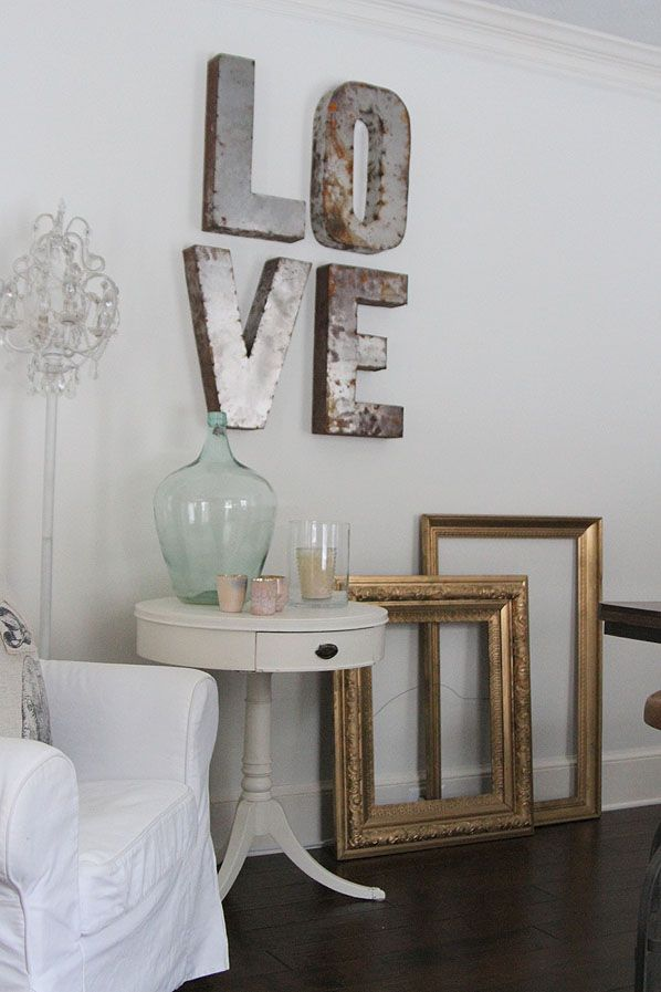 Giant Metal Letters For Wall Love Metal Sign  Empty Frames  Studio Living   Home Decor